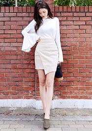 1区韩装网2016韩国服装|韩国代购服装一件代发货源chuu官网韩国简约个性不规则短裙(2016.8)