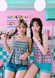 chuu-韩国格纹抽皱轻便韩国代购吊带女装2017年07月26日夏季款