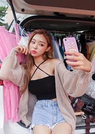 chuu-韩国螺纹轻便时尚韩国服装代购开襟衫女装2017年07月31日夏季款