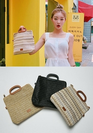 chuu-韩国时尚流行藤条韩国代购正品手提包女装2017年08月01日08月款