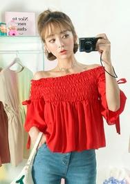 chuu-韩国魅力可爱裸肩韩国代购正品衬衫女装2017年08月07日08月款