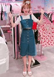 chuu-韩国时尚可爱韩国代购吊带+韩国代购长裙套装女装2017年08月07日08月款