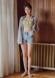 chuu-韩国时尚格纹宽松韩国代购正品衬衫女装2017年08月09日08月款