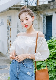 chuu-韩国时尚宽松裸肩韩国代购正品衬衫女装2017年08月14日08月款