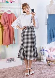 chuu-韩国时尚格纹魅力韩国代购长裙女装2017年08月14日08月款