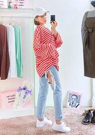 chuu-韩国时尚流行破洞韩国代购牛仔裤女装2017年08月14日08月款