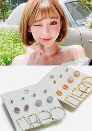 chuu-韩国时尚魅力六种不同韩国代购耳环套装女装2017年08月14日08月款