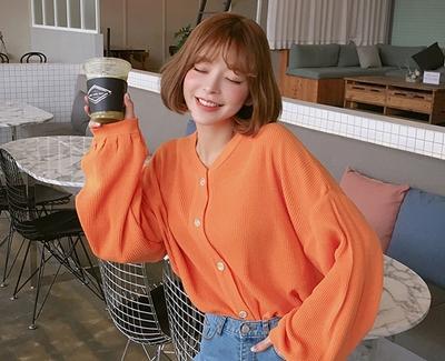 chuu-时尚魅力珍珠纽扣开襟衫