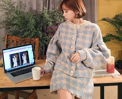 2018新款韩国服装chuu品牌气质格纹魅力夹克裙子套装(2018.1月)