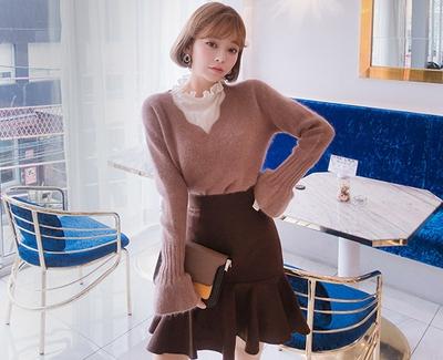 2018新款韩国服装chuu品牌简单魅力纯色短裙(2018.1月)