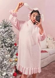 2018新款韩国服装chuu品牌清新纯色连帽睡衣(2018.1月)
