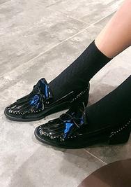 2018新款韩国服装chuu品牌复古蝴蝶结漆皮高跟鞋(2018.1月)