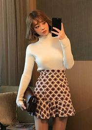 2018新款韩国服装chuu品牌优雅荷叶边配色短裙(2018.1月)