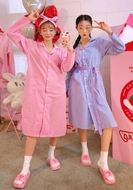 2018新款韩国服装chuu品牌清新条纹单排扣睡衣(2018.1月)