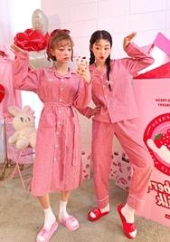 2018新款韩国服装chuu品牌清新条纹睡衣套装(2018.1月)