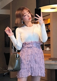 2018新款韩国服装chuu品牌修身纯色单排扣开襟衫(2018.1月)