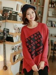 1区韩国代购正品验证clicknfunny-CFTS00781719-字母印花圆领长款T恤