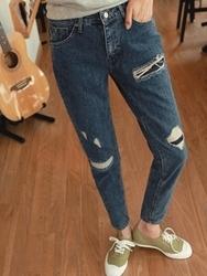 1区韩国代购正品验证clicknfunny-CFJN00781661-复古休闲磨破舒适牛仔裤
