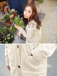 1区韩国代购正品验证clicknfunny-CFCA00782615-秋季新款长款针织开襟衫
