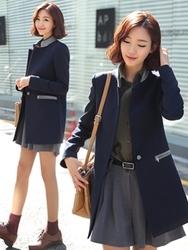 1区韩国代购正品验证clicknfunny-CFCT00782613-气质优雅拼接舒适大衣