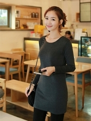 1区韩国代购正品验证clicknfunny-CFTS00782541-韩国休闲圆领长款T恤