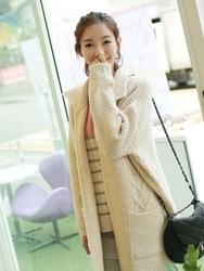 1区韩国代购正品验证clicknfunny-CFCA00782546-秋装新款长款针织开襟衫