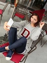 1区韩国代购正品验证clicknfunny-CFTS00782540-字母印花圆领休闲T恤