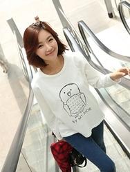 1区韩国代购正品验证clicknfunny-CFTS00782539-韩国流行猫头鹰长袖T恤