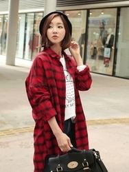 1区韩国代购正品验证clicknfunny-CFBL00782537-韩国休闲翻领格纹衬衫