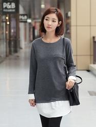 1区韩国代购正品验证clicknfunny-CFTS00782559-甜美舒适圆领拼接T恤