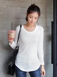 1区韩国代购正品验证clicknfunny-CFTS00790455-气质淑女圆领长袖T恤
