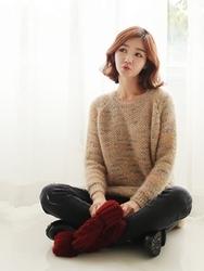 1区韩国代购正品验证clicknfunny-CFKN00790603-韩国流行圆领混色针织衫
