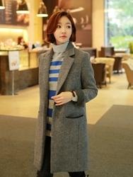 1区韩国代购正品验证clicknfunny-CFCT00790568-秋装新款西装领毛呢大衣