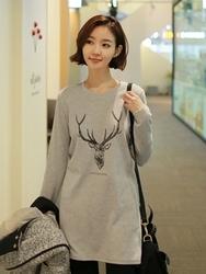 1区韩国代购正品验证clicknfunny-CFTS00790560-韩国休闲鹿印花长款T恤