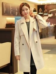 1区韩国代购正品验证clicknfunny-CFCT00790564-气质优雅西装领手工大衣