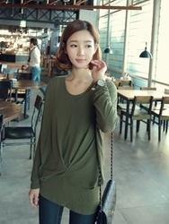 1区韩国代购正品验证clicknfunny-CFTS00849571-纯色休闲圆领长款T恤