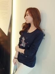 1区韩国代购正品验证clicknfunny-CFTS00849569-韩国流行猫图案长款T恤