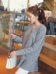 1区韩国代购正品验证clicknfunny-CFTS00849555-韩国流行荷叶边长袖T恤