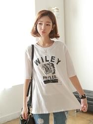 1区韩国代购正品验证clicknfunny-CFTS00849570-字母印花圆领短袖T恤