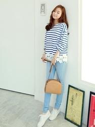 1区韩国代购正品验证clicknfunny-CFTS00849519-纯色休闲条纹蕾丝T恤