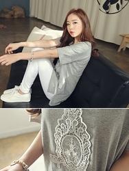 1区韩国代购正品验证clicknfunny-CFTS00849518-纯色休闲圆领蕾丝拼接T恤