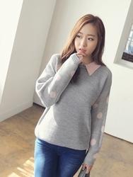 1区韩国代购正品验证clicknfunny-CFKN00849505-时尚百搭翻领混色针织衫