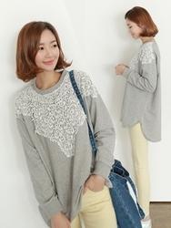 1区韩国代购正品验证clicknfunny-CFTS00849516-韩国流行圆领拼接卫衣