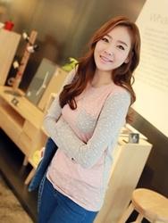 1区韩国代购正品验证clicknfunny-CFTS00849517-韩国休闲圆领拼接T恤
