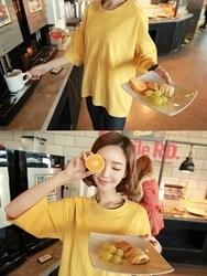 1区韩国代购正品验证clicknfunny-CFTS00849502-纯色休闲圆领七分袖T恤