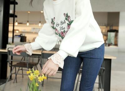 clicknfunny-甜美风格玫瑰刺绣针织纱