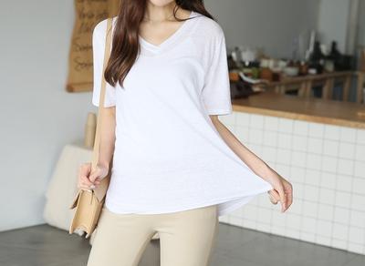 1区韩国本土服装代购(韩国圆通直发)clicknfunny-休闲舒适纯色V领T恤(2018-04-17上架)