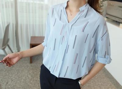 1区韩国本土服装代购(韩国圆通直发)clicknfunny-休闲舒适配色半开领衬衫(2018-04-17上架)