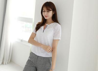 1区韩国本土服装代购(韩国圆通直发)clicknfunny-时尚配色短袖T恤(2018-04-17上架)