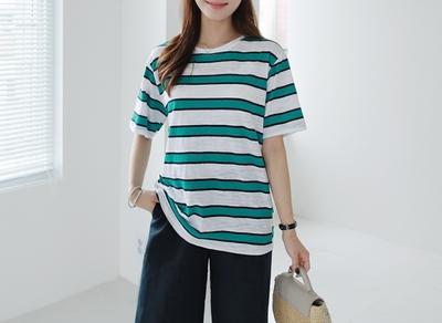 1区韩国本土服装代购(韩国圆通直发)clicknfunny-休闲舒适配色条纹T恤(2018-04-17上架)